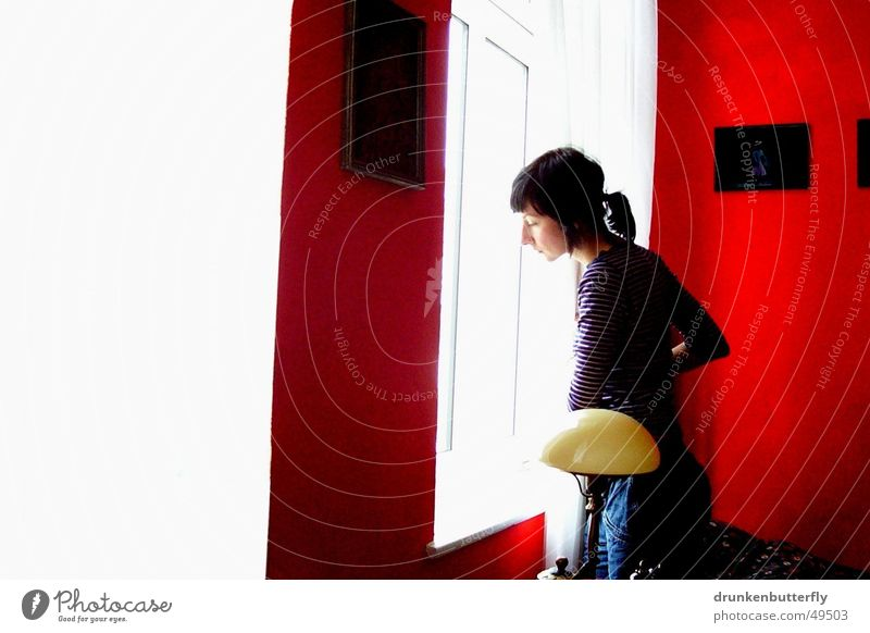waiting Window Grief Red White Light Lamp Woman Black Human being Sadness Image