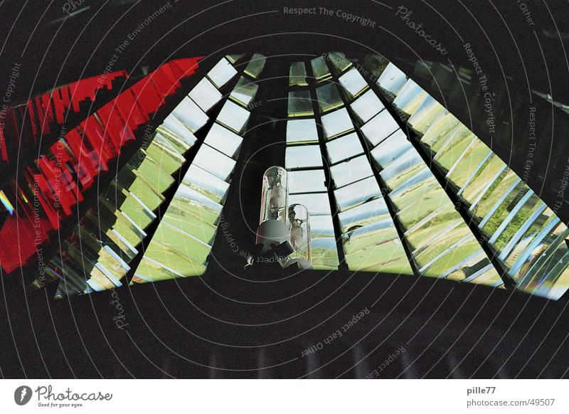 inner lighthouse Lighthouse Summer Red White Kaleidoscope Prism Interior shot Corner Baltic Sea Water Blue mirror repeated steep angle cuckloch Idea