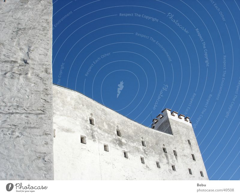 White-Blue Austria Wall (building) Wall (barrier) Exterior shot Sky Salzburg Tall Old Detail Castle