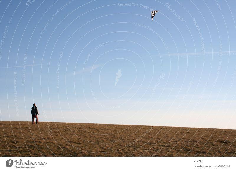 Human being Sky Autumn Meadow Flying Rope Floor covering String Ascending Dragon Fulda district Rhön Wasserkuppe