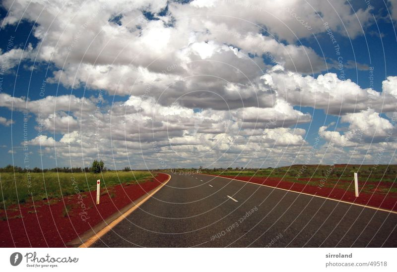 Great Northern Highway Red Horizon Clouds Monsoon Raincloud Storm clouds Green Port Hedland Far-off places Street Sand Sky Blue Banquet