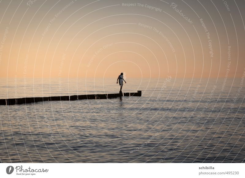 almost there Summer Sun Ocean Waves Woman Adults Water Sunrise Sunset Warmth Baltic Sea Lake Lanes & trails Thin Willpower Loneliness End Resolve Target
