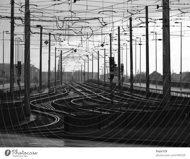 Line Transport Railroad Arrangement Railroad tracks Cologne Tram Agitated Means of transport Cologne municipal transport system Deutzer Bridge