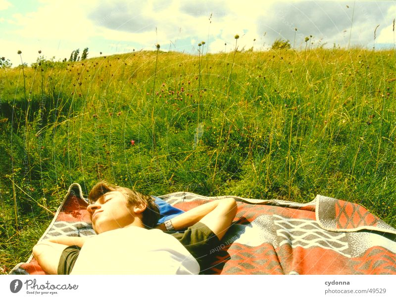 falling over backwards Meadow Relaxation Summer Calm Dream Emotions Sun Blanket Landscape