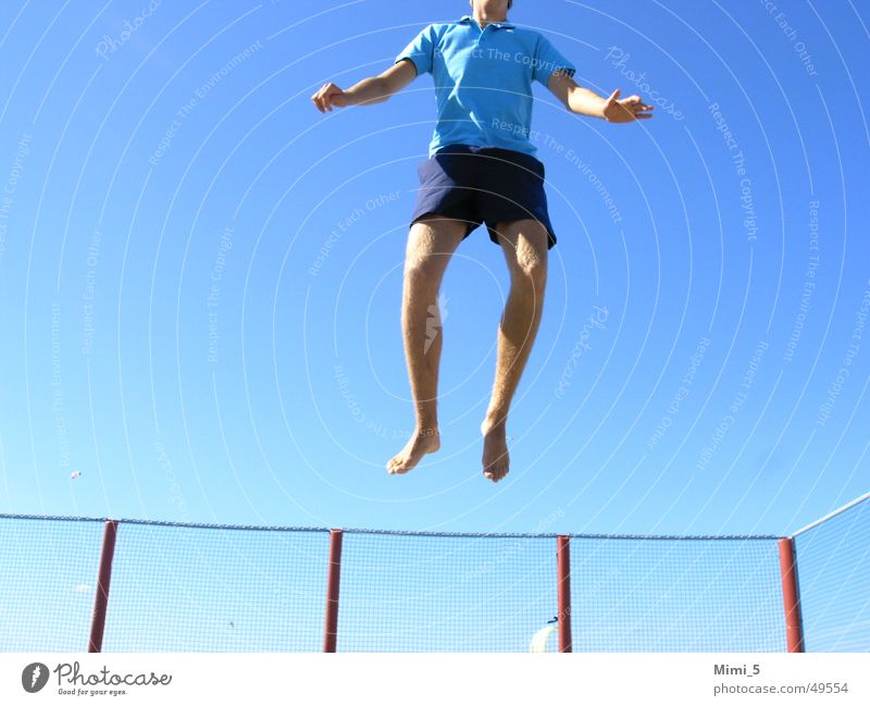 High above... Jump Hop Fence Sky Tall Blue Flying trampoline Legs