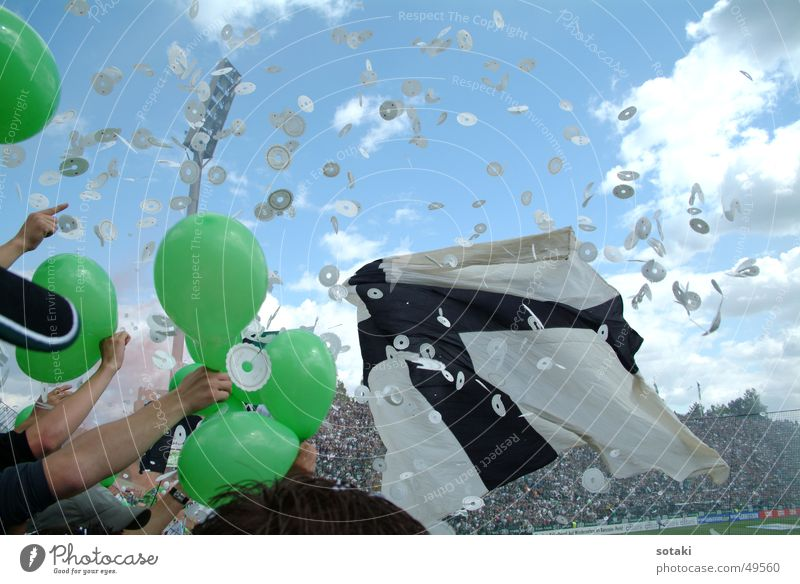 Soccer Balloon Flag Applause Confetti National league Moenchengladbach Bökelberg stadium