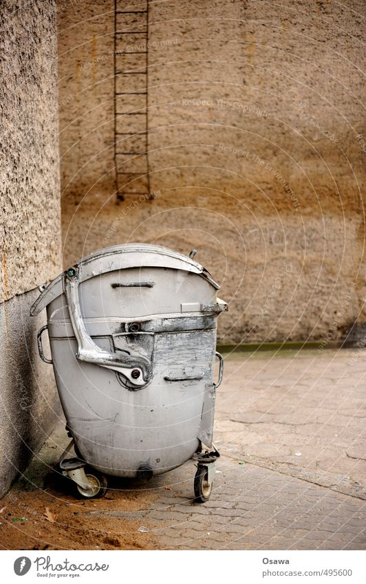 Old House (Residential Structure) Wall (building) Building Gray Trash Ladder Silver Backyard Container Trash container Monochrome Dispose of