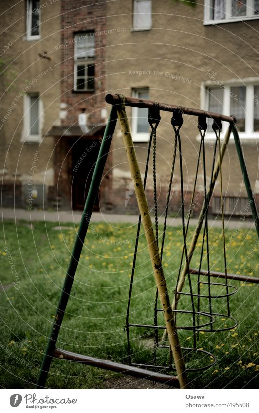 swing Swing Toys Playground Courtyard Backyard Garden Meadow Lawn Old Broken Gloomy Rust Facade House (Residential Structure) Apartment Building Plaster Window