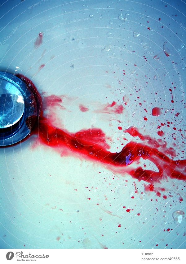 Red Death Drops of water Grief Bathroom Fluid Blood Drainage Lose Murder Sink Manslaughter