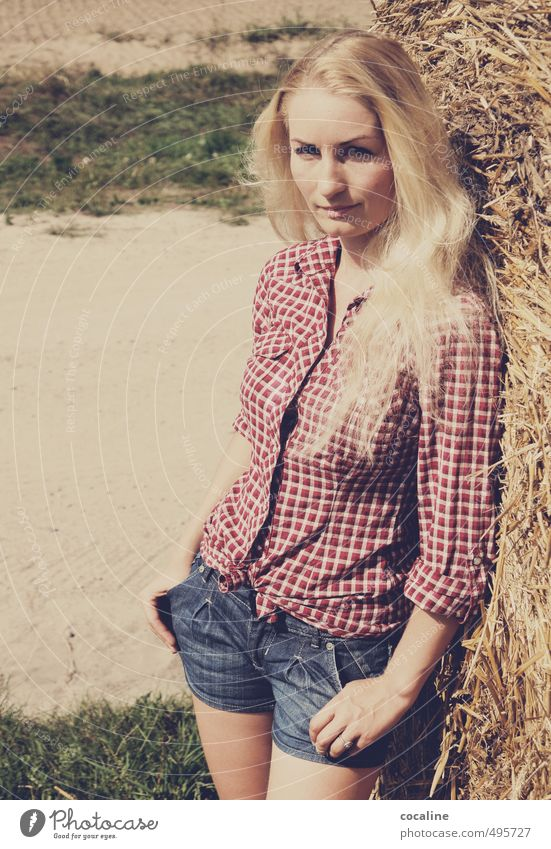 Wild Wild West Feminine Young woman Youth (Young adults) 1 Human being 30 - 45 years Adults Shirt Blonde Long-haired Stand Esthetic Beautiful Natural Moody
