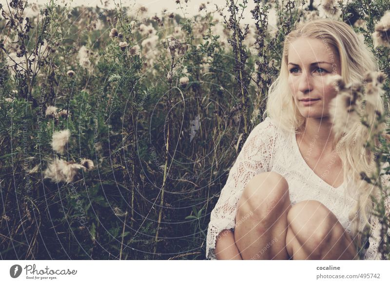 Human being Nature Youth (Young adults) Beautiful White Plant Loneliness Young woman Adults Life Sadness Feminine Natural Dream Moody Fear