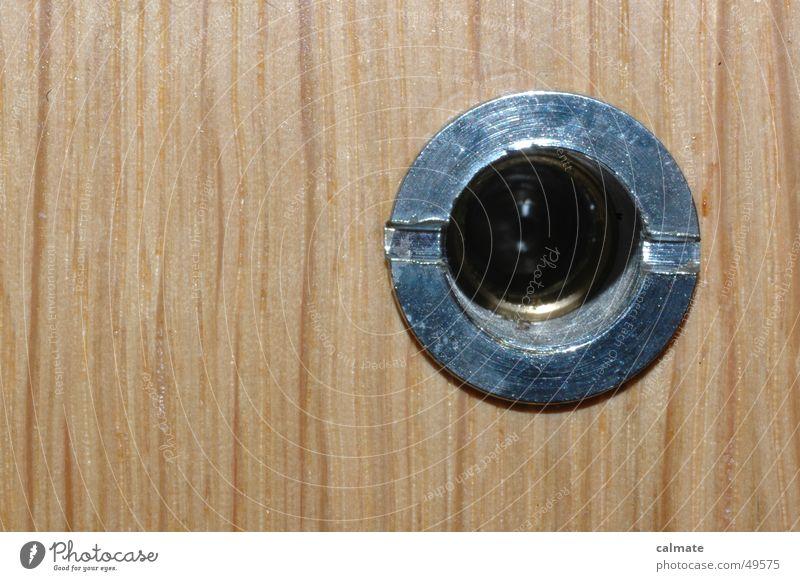 - there's someone - Hollow Wood Front door Visitor Wooden door Informer unwanted visit Veneer Metal ring
