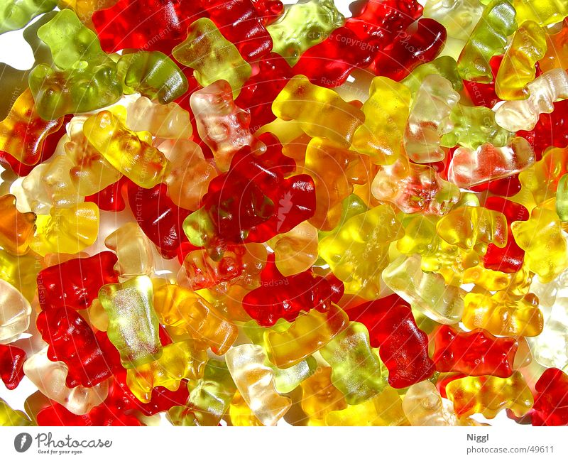 White Green Red Yellow Orange Sweet Candy Gummy bears Gelatin