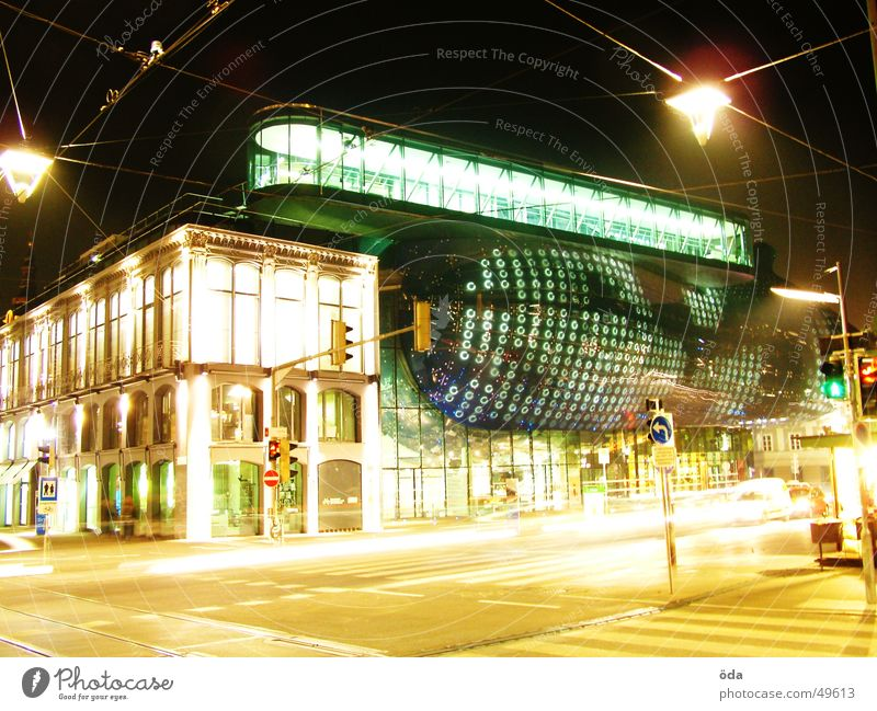 again Kunsthaus Graz Light Long exposure Building Lantern Traffic light Art art house Car Street Modern Architecture