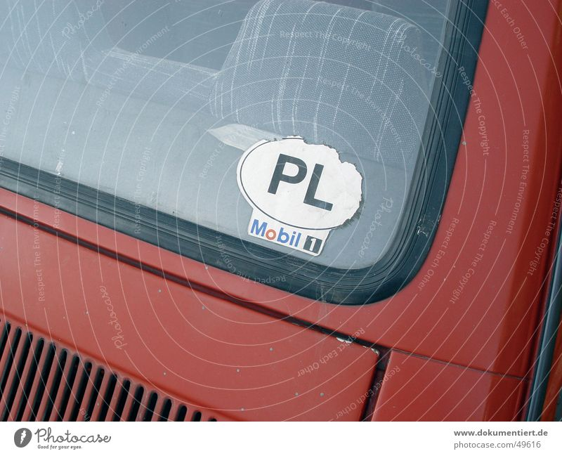 PL Adjectives Label Red Badge Mobility Car Poland Europe Rear Window Detail
