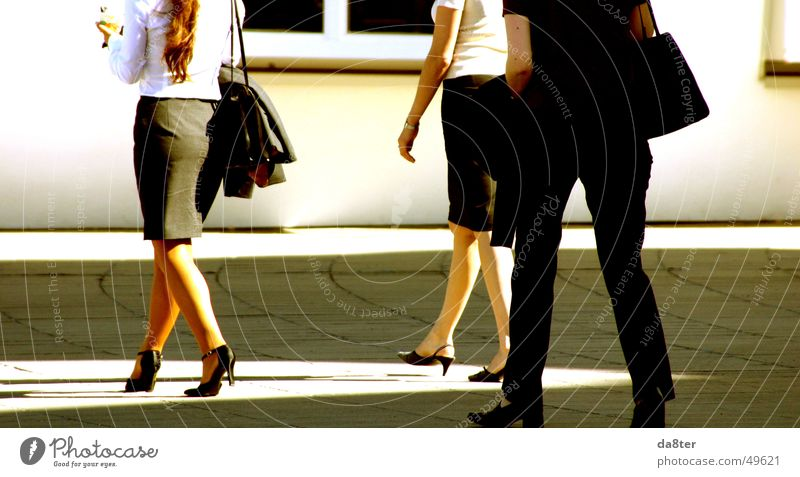 Business women during lunch break Woman Lady Going Footwear Summer Physics Bag Blouse To go for a walk Legs Warmth Walking Shadow