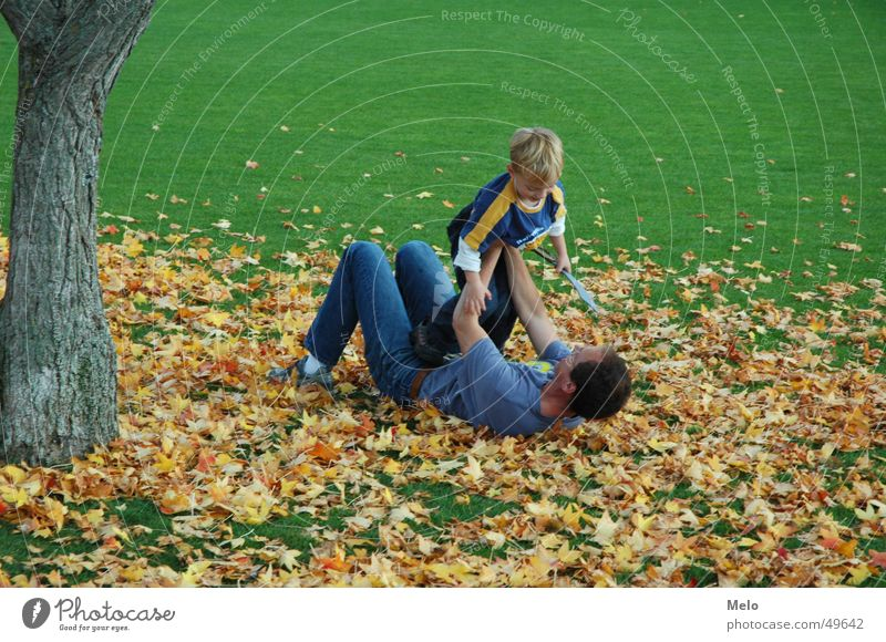Child Family & Relations Tree Green Leaf Boy (child) Playing Grass Father Parents Romp Father's Day
