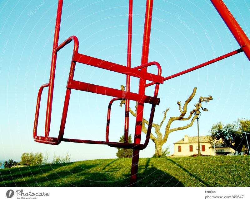 silence Calm Swing Tree Red Empty Loneliness Grief Hill Far-off places Sadness Line Perspective Fear