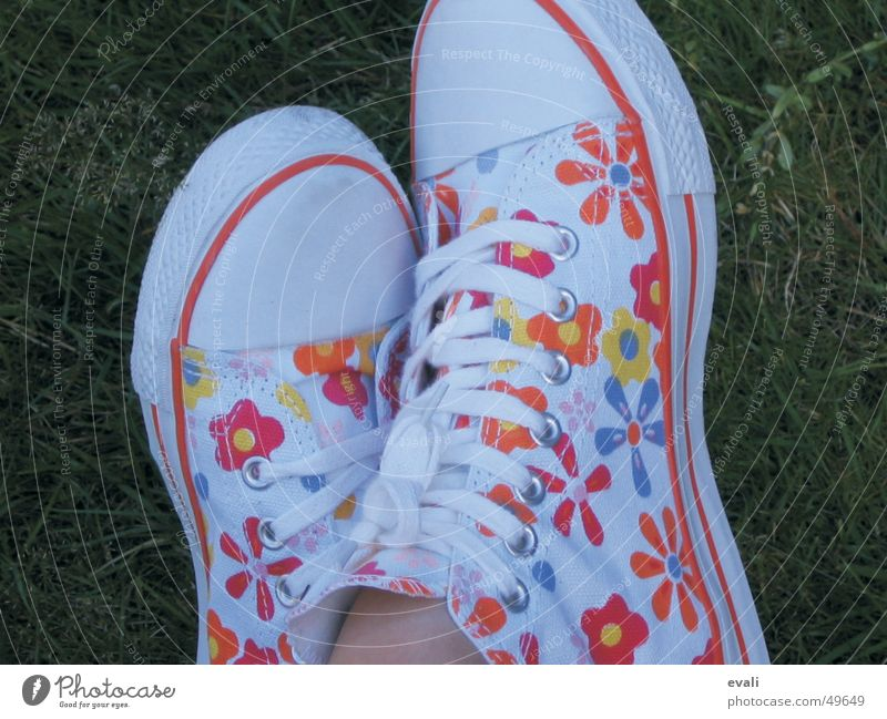 Youth (Young adults) Beautiful White Flower Green Red Summer Joy Yellow Meadow Jump Grass Spring Feet Footwear Orange
