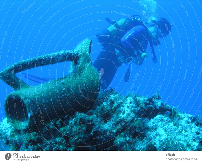 Diving in the Mediterranean Sea Dive Underwater photo Diver Amphora Weightlessness blue water diving Mediterranean sea Freedom Far-off places