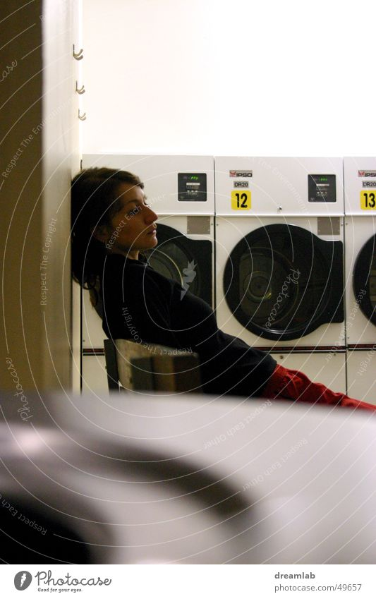 Laundromat Girl Linearity 3 Drum Sleep Woman Boredom Night Repeating washing machine Fatigue Empty Wait sleepy launderette repetition three washer young tired