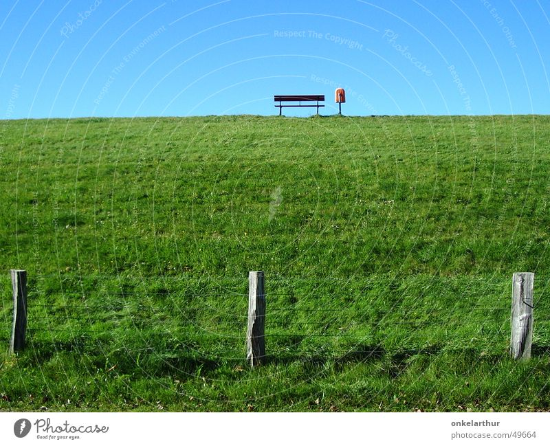 Green Colour Grass Empty Bench Fence North Sea Trash container
