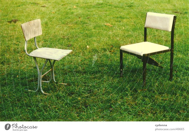 Nature Old Green Meadow Grass Style Communicate Broken Retro Chair Furniture Connection