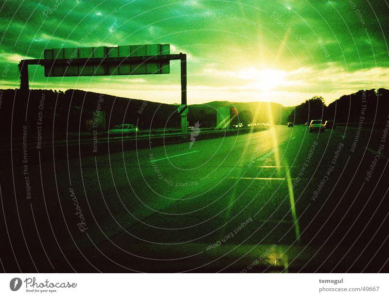 journey home Highway Driving Sunbeam Cross processing Sunset Sunrise Vacation & Travel Target Street