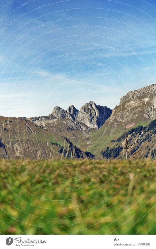 Sky Green Blue Grass Mountain Gray Stone Horizon Rock Earth Vantage point