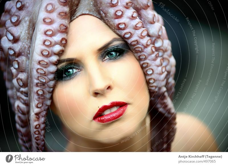 Mrs. Antje's new hat... Human being Feminine Young woman Youth (Young adults) Woman Adults Face 1 18 - 30 years 30 - 45 years Art Work of art Water Animal Fish