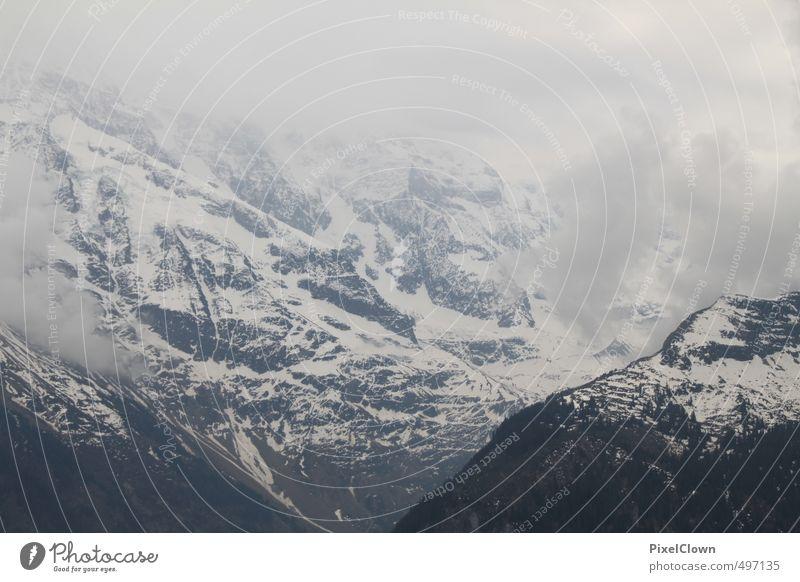 mountain top Meditation Vacation & Travel Tourism Mountain Nature Clouds Wind Fog Snow Alps Peak Snowcapped peak Glacier Stone Free Gray White Moody Wanderlust