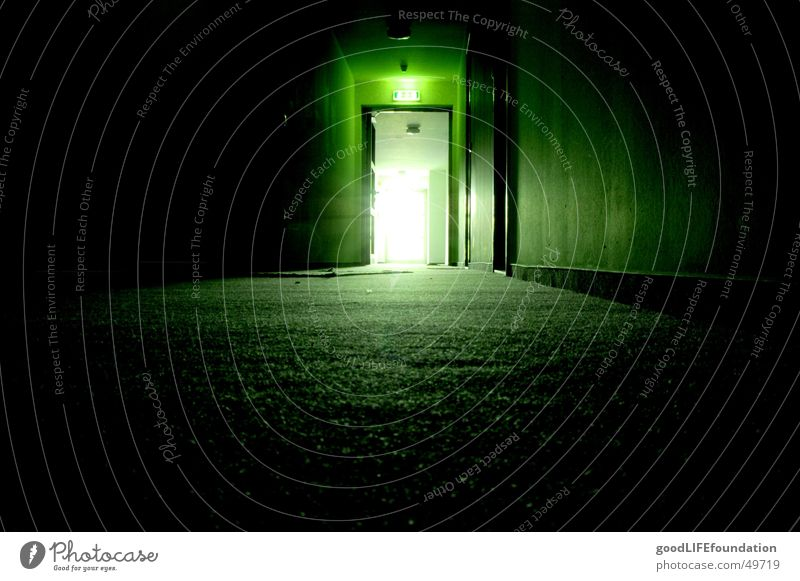 into the light Hallway Dark Emergency exit Way out Green Light Back-light Light at the end of the tunnel Corridor