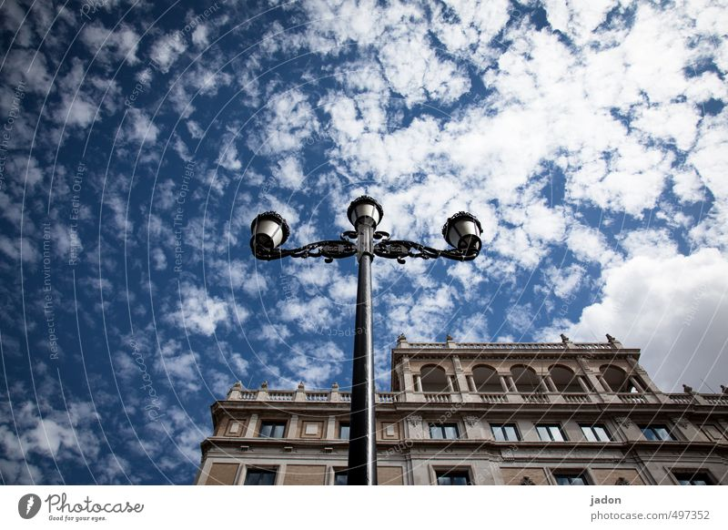 Blue Old City Clouds House (Residential Structure) Architecture Building Lamp Facade Contentment Illuminate Design Esthetic Manmade structures Spain Lantern
