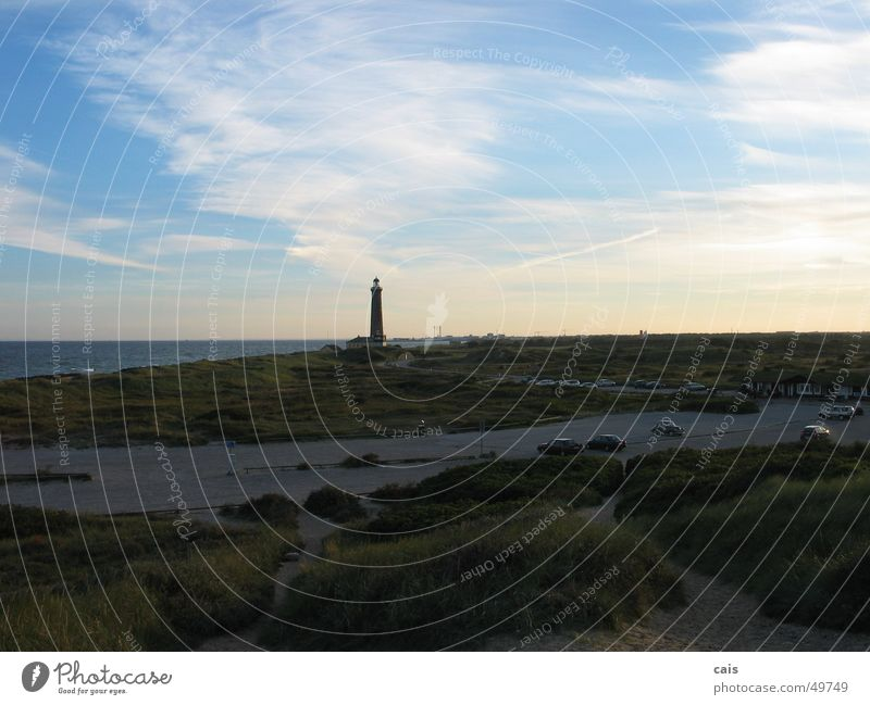Skagen Lighthouse Coast Skagerrak Ocean Sunset Panorama (View) Vacation & Travel Europe Sky Water Denmark Beach dune Landscape North Sea Baltic Sea Large