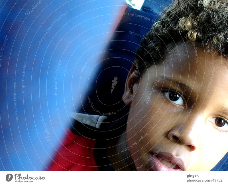 Human being Child Blue Face Eyes Think Car Infancy Sit Driving Curl Ask In transit Skin color Child seat