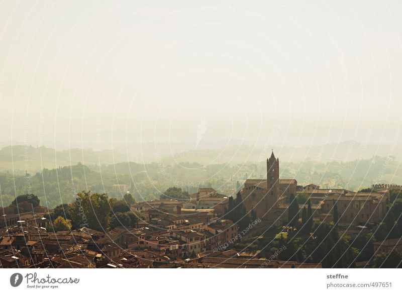 Vacation & Travel Landscape House (Residential Structure) Religion and faith Exceptional Esthetic Beautiful weather Church Italy Cloudless sky Skyline Old town Town Tuscany Siena