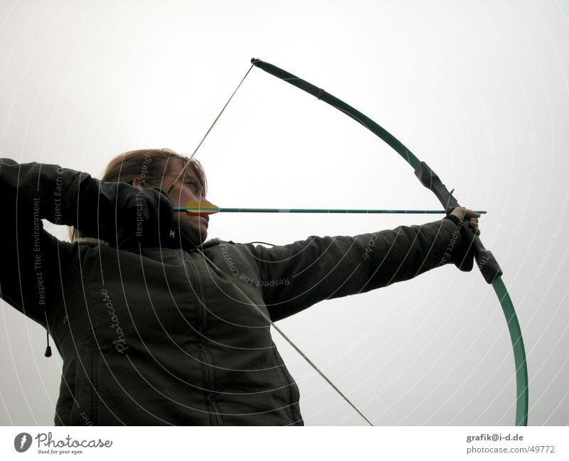 Woman Sky Green Arrow Aim Arch Shoot