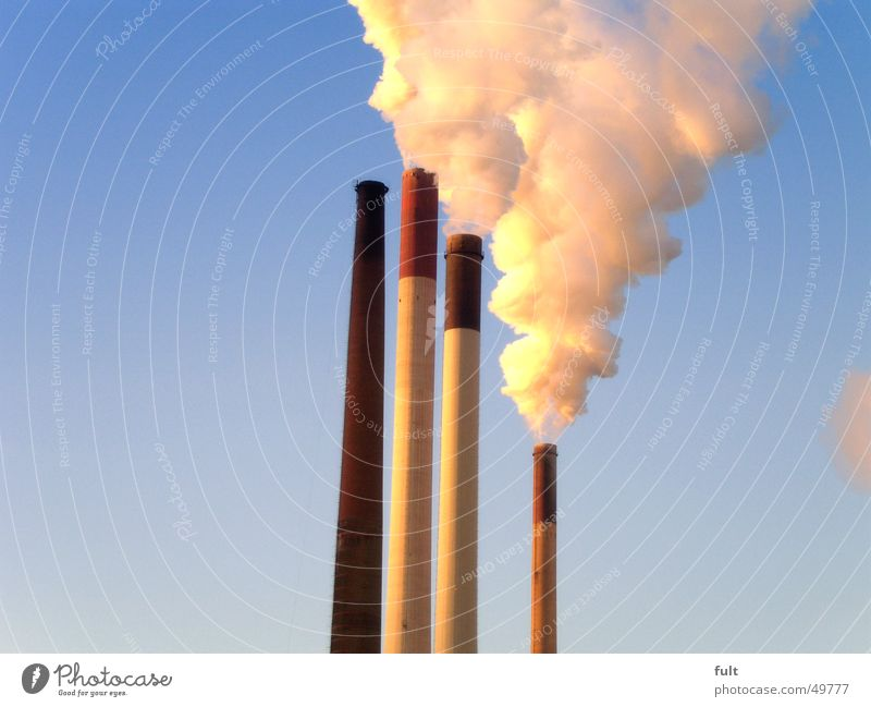 Calm Clouds Yellow Concrete Energy industry Tower Smoke Gas Chimney Poison Blue sky Steam Electricity generating station The Ruhr Air pollution