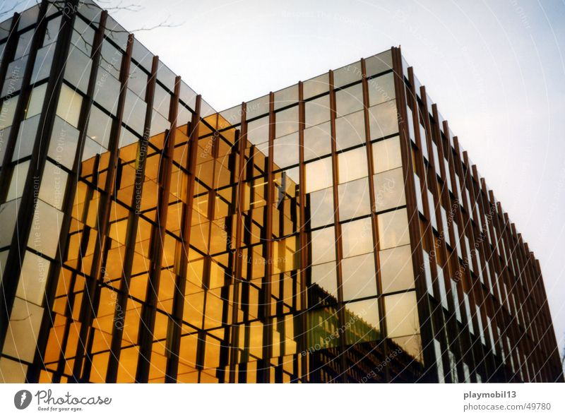Window Building Brown Orange Glass Gold High-rise Hamburg Facade Industrial Photography Beige Lens Corporate building Glas facade City Nord