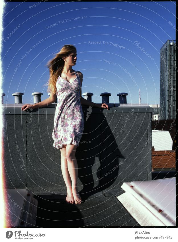 lookout at the edge of the film Young woman Youth (Young adults) Body Legs 13 - 18 years Child Cloudless sky High-rise Roof Chimney Summer dress Barefoot Blonde
