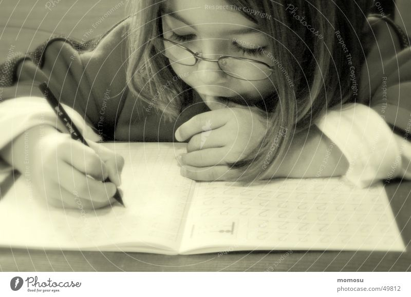 ...the seriousness of life Child Girl Student Pen School Study Magazine taferklassler Schoolchild Homework Effort