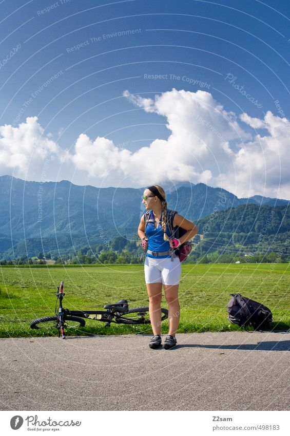 Sky Nature Youth (Young adults) Vacation & Travel Summer Relaxation Young woman Landscape Calm Clouds 18 - 30 years Adults Mountain Meadow Feminine Sports