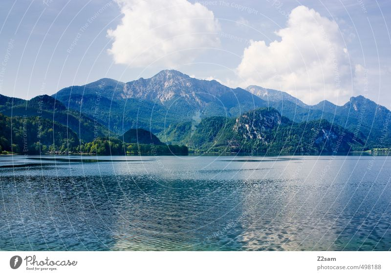 Kochelsee Calm Vacation & Travel Summer Environment Nature Landscape Sky Clouds Beautiful weather Alps Mountain Lakeside Sustainability Natural Clean Blue Green