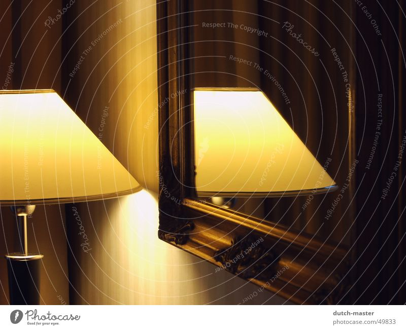In the mirror #1 Lamp Light Photography Mirror Reflection Yellow Wallpaper Electric bulb Romance Hotel Emotions Serene Dark Classical Speed Lampshade Curtain