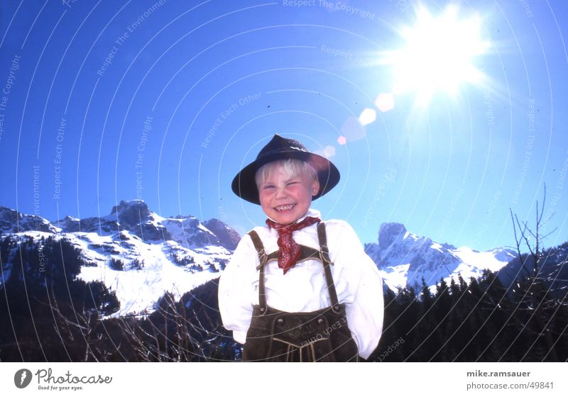 Child Joy Winter Life Mountain Laughter Dance Teeth Romance Kitsch Alps Hat Leather Tradition Rag Dazzle