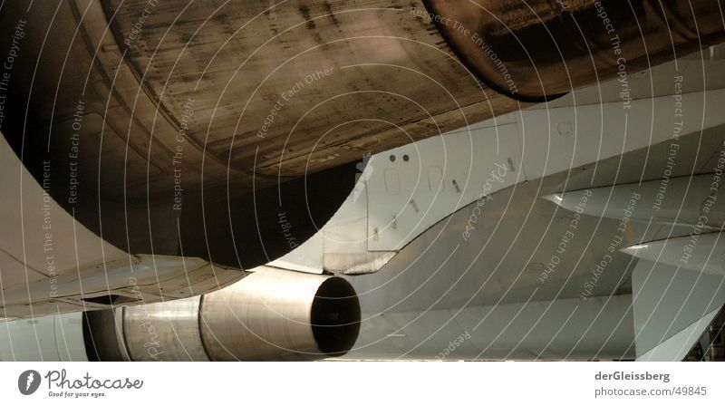 Airplane Aviation Machinery Section of image Partially visible Jet Engines Aircraft Impulsion