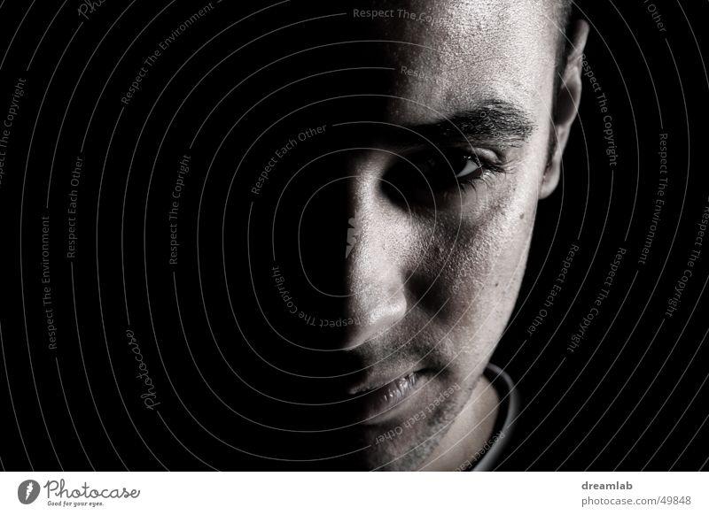 Man Face Dark Success Half Frontal Resolve Single-minded Pore Emerge