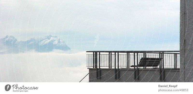 Sky Calm Clouds Loneliness Cold Snow Above Mountain Concrete Trip Break Bench Level Vantage point Peak Handrail
