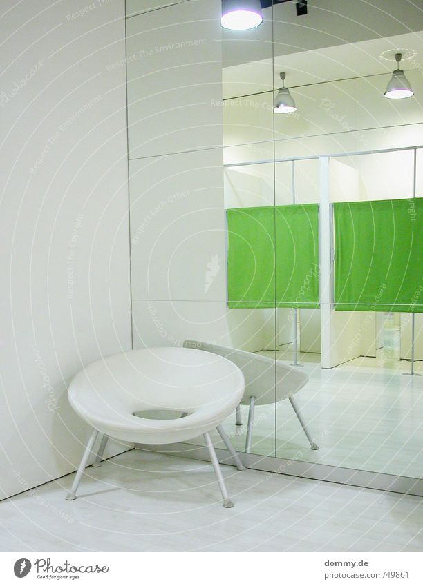 men's chair Chair Changing room Store premises Design Mirror Green White Style Interior shot Mirror image Deserted Interior design Designer furniture