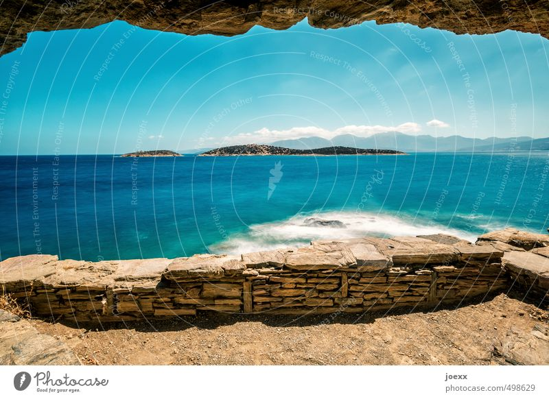 unattached Elements Water Sky Clouds Horizon Summer Beautiful weather Rock Waves Coast Island Blue Brown White Wanderlust Hope Idyll Colour photo Exterior shot